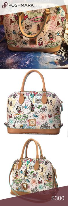 Disney Sketch Zip Satchel by Dooney & Bourke Brand new with tags. Leather trim. Printed canvas. White with Disney print on top. Comes with a strap. Inside pockets. Never been used or carried. Comes with shoulder strap. Dooney & Bourke Bags