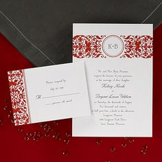 Surprise your guests with this shimmer invitation card featuring a filigree design that changes with your choice of background colors and your initials printed at the top. Background colors available include: Admiral, Scarlet (Shown), Canary, Ebony, Grass, Lipstick, Peacock, Raisin and Sea.