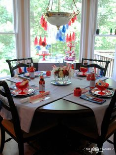 of July Kids Table by The Party Teacher - dining table Party Guests, I Party, Kid Table, Dining Table, Star Sugar Cookies, Vanilla Bean Frosting, Teacher Party, Dessert Table Backdrop, 4th Of July Party