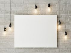This Free canvas painting mockup on a wall allows you to showcase your artwork on a white brick wall between hanging bulbs. Poster Paint, Poster Wall, 3d Wall, Frames On Wall, Wall Art, Mises En Page Design Graphique, Background Powerpoint, Web Design, Graphic Design