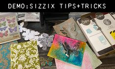 demo:sizzix tips + tricks Tim Holtz Blog, Embossing Techniques, Card Making Supplies, Colouring Techniques, Distress Ink, Ink Painting, Scrapbook, Creative, Multimedia