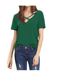 SUNNOW®V-neck Casual T-shirt  Sexy Cross Design At The Front And V-neck Cut at The Back. loose blouse for the young girl.