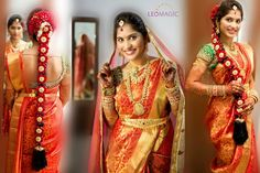 South Indian bride. Hindu bride. Red silk kanchipuram sari with contrast green blouse. Fresh flowers in traditional braid.