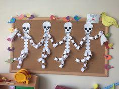 crations dhalloween Dancing skeleton art craft for kindergarten, Halloween Arts And Crafts, Halloween Activities, Fall Crafts, Holiday Crafts, Holidays Halloween, Halloween Fun, Halloween Decorations, Kindergarten Crafts, Preschool Crafts