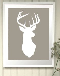 would it be awesome or dumb to make this and then stick a sparkly red circle on its nose? I think awesome... Deer Head Silhouette Print