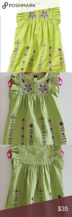 Tea Collection India Kantha embroidered Dress Malati Kantha dress in grasshopper green color. Another bright green color. Made of breathable linen and cotton blend fabric. Brand New Never Been Worn. Tea Collection Dresses Casual
