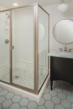 WHITE + GOLD, honeycomb tile, calcutta marble, tile wainscot