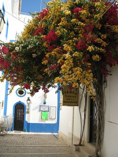 A walk in the old town, Albufeira, Portugal (by Bexy87). Love the floral overhang