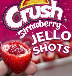 STRAWBERRY CRUSH JELLO SHOTS - Real Strawberries, Vodka, Strawberry Jello, Colored Sugar Crystals - These are the sweetest and tastiest little jello shots!