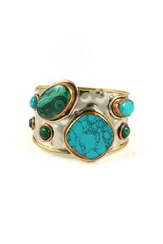 Image Enlargement of Spiritual Multi-Stone Bracelet in Turquoise by Natalie B. Jewelry