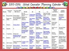 Calendar spreadsheet with monthly lesson topics for Pre-K through 5th grade.  Also includes monthly newsletter topics, character traits, habits of mind, and student initiatives like red ribbon week.  Each lesson topic is linked to different lessons within the Little Miss Counselor store!