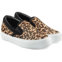 Salvatore Ferragamo Leopard Printed Slip-On Sneakers (770 ILS) ❤ liked on Polyvore featuring shoes, sneakers, animal print, white trainers, white shoes, salvatore ferragamo shoes, animal print shoes and calf hair slip on sneakers