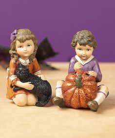 Take a look at this Retro Halloween Sitting Children Figurine Set by Transpac Imports on #zulily today!