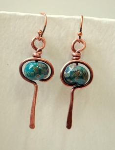 Glass Bead Earrings and copper wraps by millicent