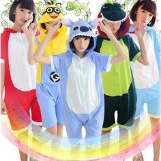 13377460db Short sleeve Cotton Cartoon Sleepwear Unisex Spring Summer Pajama Women Men  Pajama Flannel Animal Pajama Stitch Unicorn Onesies