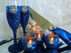 Wedding, Wedding Cake Table Package, Champagne Flute, Candle Holder, Votive Holder, Blue, Cake Server, Wedding Decoration, Ceremony Candle