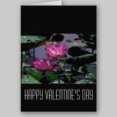 Water Lily Valentine's Day Card available at www.zazzle.com/stevebrownleeart*
