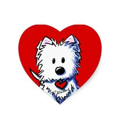 These red heart Westie Terrier stickers by KiniArt™ have been popular with fans of the West Highland White Terrier breed. © KiniArt™ - All Rights Reserved