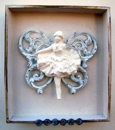 Mixed Media Butterfly Dancer Shadow Box Collage by Studiomoonny