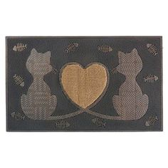First Impression Twin Heart Cat Outdoor Doormat - A1HOME200090