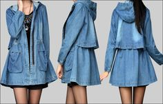 İlkbahar ve Sonbahar yeni Kore büyük boy kadın pamuk uzun bölüm kapüşonlu pelerin oldu ince kot ceket denim trençkot - Taobao