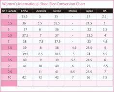 Women's International shoe size conversion chart. U.S., Canada, Australia, Europe, Mexico, Japan, U.K.