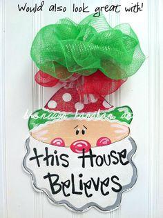 Red and Green Presents Door Hanger - Bronwyn Hanahan Original. $50.00, via Etsy.