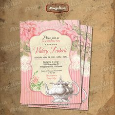 Snabby chic Bridal Tea Party Invitation DIY card by AngelinaWorks, $12.90
