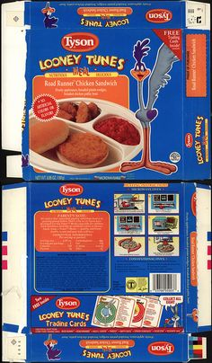Tyson - Looney Tunes Meal - Road Runner Chicken Sandwich - tv dinner box - 1990 by JasonLiebig, via Flickr