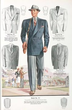 1930's Men's English drape style jacket with wide shoulders and slightly elevated waistline. In the pants you can observe the crease and cuff.