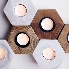 Candle holder in Teak and Concrete - Photo by @woodsagentur