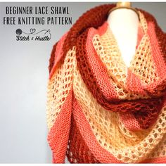 Knit this colorful beginner lace shawl with this free knitting pattern by Stitch & Hustle. Free Knit Shawl Patterns, Free Pattern, Knitting Patterns, Lace Knitting, Knit Lace, Simple Knitting, Bobble Stitch, Lace Wrap, Tricot