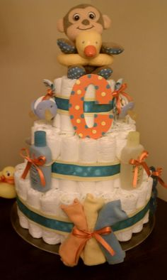 Bathtime themed diaper cake made by Merdy's Diaper Cakes