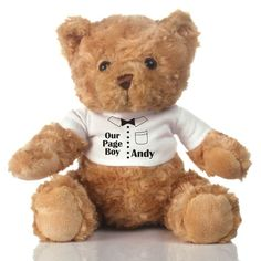 Your page boy deserves a cuddly friend for all his wedding day duties. This #personalised teddy is ready and waiting to look after your #pageboy | The Personalised Gift Shop | £18.99