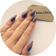 glossy mocha stiletto nails set  hand painted  by NailGalsBoutique
