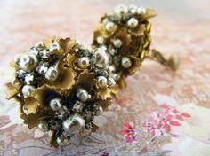 Miriam Haskell Pearl Flower Earrings