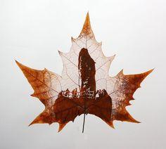 leaf vein carving art