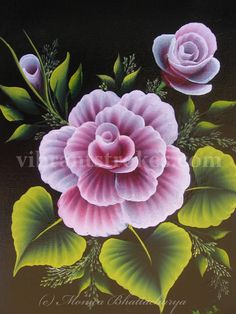 Monica's one stroke Cabbage rose done in Donna Dewberry's one stroke painting style.