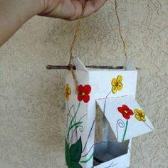 Faça um comedouro de pássaros com reciclagem de tetrapack
