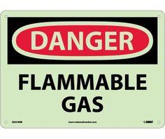 Danger, FLAMMABLE GAS, 10X14, Rigid PlasticGlow