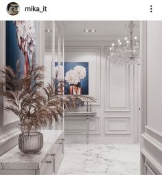 What an absolutely stunning hallway. Luxury living at its finest Luxury Living, Oversized Mirror, Chair, Interior, Inspiration, Furniture, Absolutely Stunning, Home Decor, Biblical Inspiration