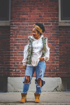 How To Wear Timberlands, Timberland Boots Outfit, Cute Summer Outfits, Fall Outfits, Chic Outfits, Fashion Outfits, Autumn Fashion, Clothes For Women, Natural Hair