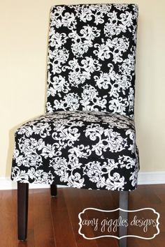 Grey Parson Chair Slipcovers Massage Capital E Easy Slipcover Tutorial With Chevron Fabric!!! Two Chairs For 10 Bucks ...