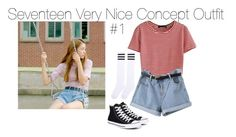 Seventeen Very Nice by kookiechu on Polyvore featuring polyvore, мода, style, WithChic, Converse, fashion and clothing