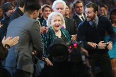 Betty White and Chris Evans