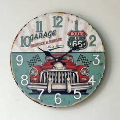 Reloj De Pared European Retro Cars Pattern Wood Wall Clock Zakka Antique Style Round Needle Quartz Watch For Home Decoration