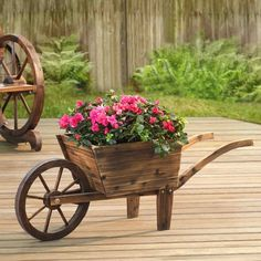 Sunjoy Baker Solid Wood Decorative Flower Cart - 110302001