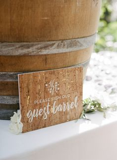 Rustic guestbook: http://www.stylemepretty.com/2017/03/08/glam-napa-valley-vineyard-wedding/ Photography: Sylvie Gil - http://www.sylviegilphotography.com/