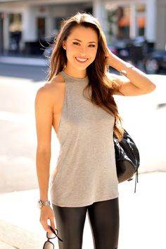 Street style   Grey cami and leather pants