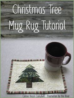 Sew A Gift Free pattern tutorial for a cute little mug rug at Freemotion by the River: Christmas Tree Mug Rug Tutorial - Christmas Tree quilt Mug Rug tutorial makes an easy gift for teachers and friends. There is also a tablerunner that matches. Christmas Mug Rugs, Christmas Tree Quilt, Christmas Sewing, Christmas Crafts, Christmas Quilting, Xmas, Christmas Placemats, Christmas Coasters, Modern Christmas